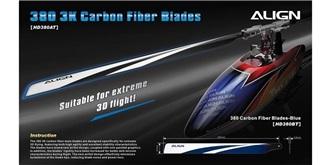 TRex 470L Rotorblatt 380 Carbon blau