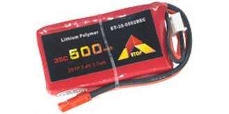 Accu LiPo ETOP  500-2S (7,4V) 35C BEC