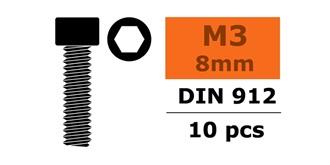 Schraube M 3,0x  8mm Zyl.kopf-Gewinde (Inbus) 10St