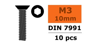 Schraube M 3,0x 10mm Senkkopf-Gewinde (Inbus) 10St