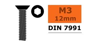 Schraube M 3,0x 12mm Senkkopf-Gewinde (Inbus) 10St