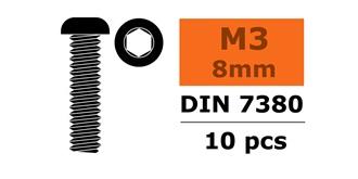 Schraube M 3,0x  8mm Linsenkopf (Inbus) 10St