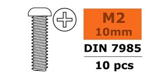 Schraube M 2,0x 10mm Rundkopf (Kreuz) 10St