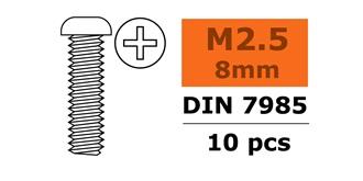 Schraube M 2,5x  8mm Rundkopf (Kreuz) 10St