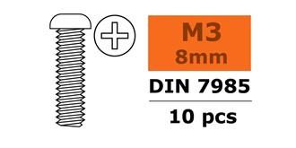 Schraube M 3,0x  8mm Rundkopf (Kreuz) 10St
