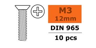 Schraube M 3,0x 12mm Senkkopf-Gewinde (Kreuz) 10St