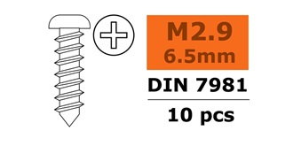 Schraube M 2.9x  6.5mm Linsenblech (Kreuz) 10St