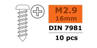 Schraube M 2.9x 16mm Linsenblech (Kreuz) 10St