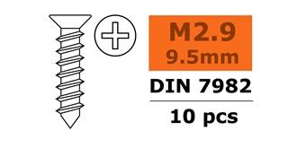Schraube M 2.9x  9.5mm Senkblech (Kreuz) 10St