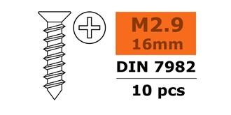 Schraube M 2.9x 16mm Senkblech (Kreuz) 10St