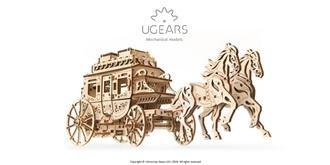 UGEARS Post Pferdekutsche Holzkit