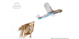 UGEARS Flugzeugstarter mit Flugzeug Holzkit