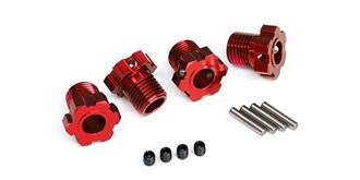 Wheel hubs, splined, 17mm (red-anodiz ed) (4)/ 4..