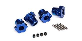 Wheel hubs, splined, 17mm (blue-anodi zed) (4)/ ..