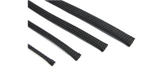 Kabel Gewebeschlauch 10mm schwarz 1m