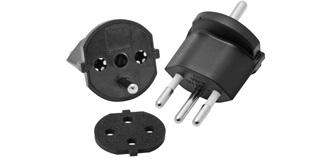 Fix-Adapter Deutsch/Schweiz 3-polig Schwarz
